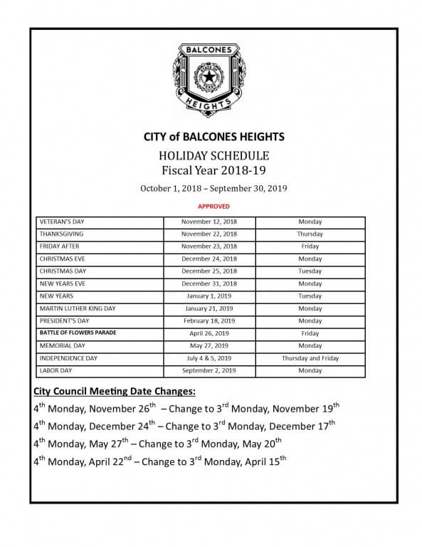 calendar 2018 19 holiday schedule city of balcones heights